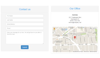 Bootstrap template, demonstrating a single contact form and a map