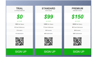 A template, demonstrating a pricing table layout with columns.