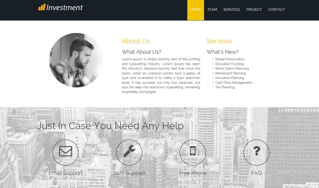 Investment corporate theme