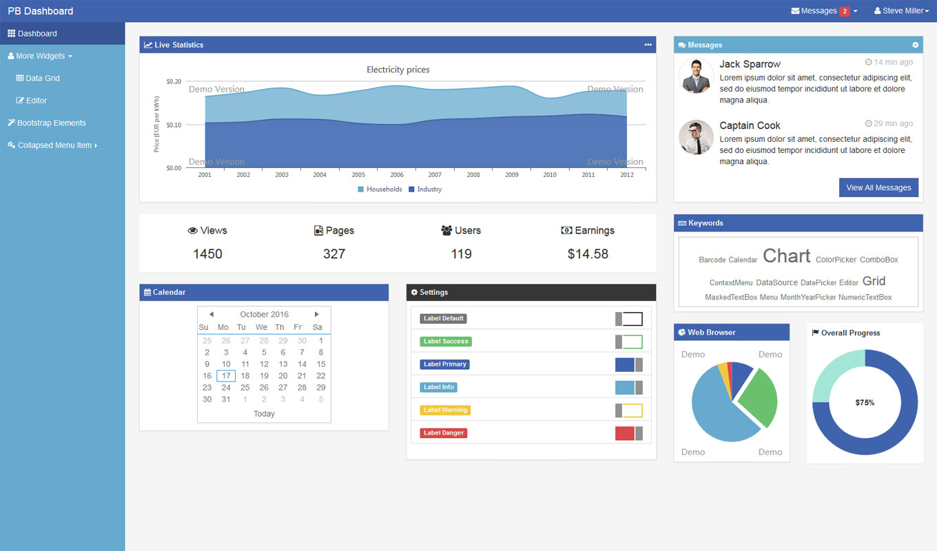 Professional admin theme with a flat design