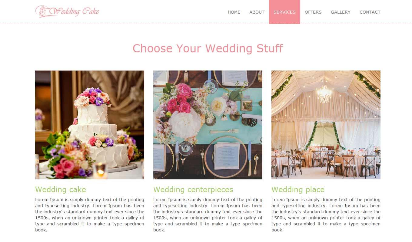 Multi-page theme suitable for a bakery, cake shop, or event website