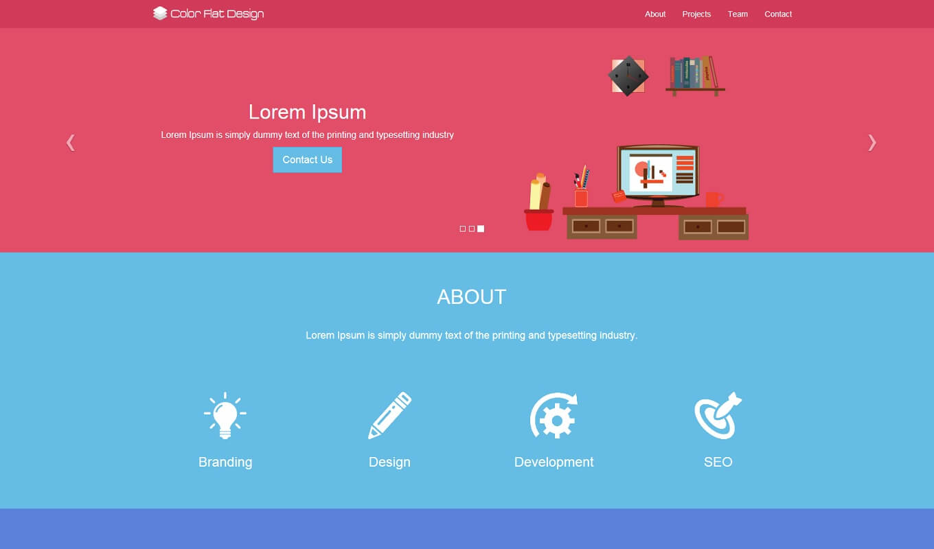 Color flat design theme prepbootstrap Create a blueprint